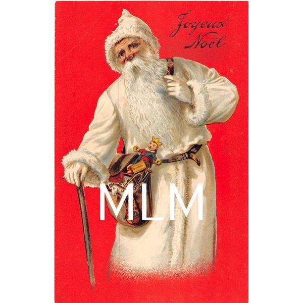 Red Background Joyeux Noel White Suit Santa Christmas Postcard