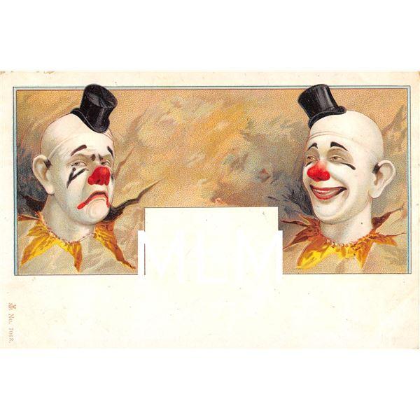 No. 7018 Undivided Back Happy & Sad Clown Circus Postcard