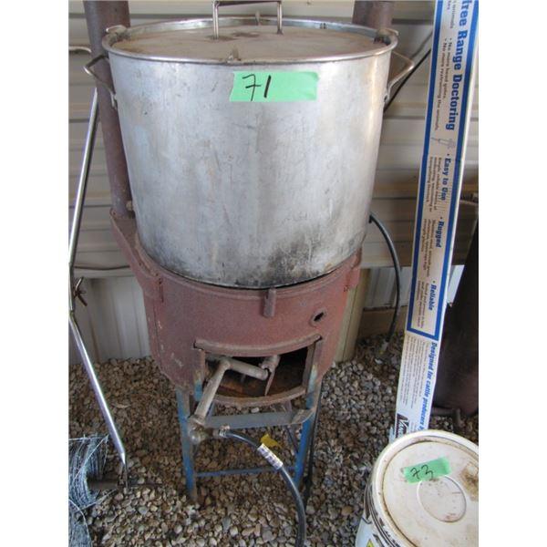 propane-fired corn cooker, stainless steel pot