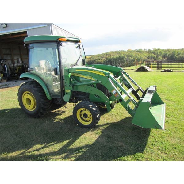 John Deere 3520 tractor; 300 CX Loader c/w  bucket and bale prong; Cab with air, heat and radio; Joy