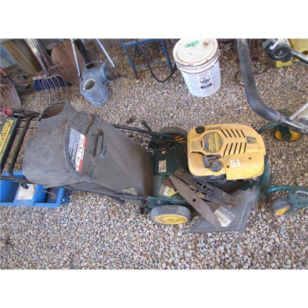 "Yard-Man 6.5 horsepower, 21"" cut gas mower with electric start"