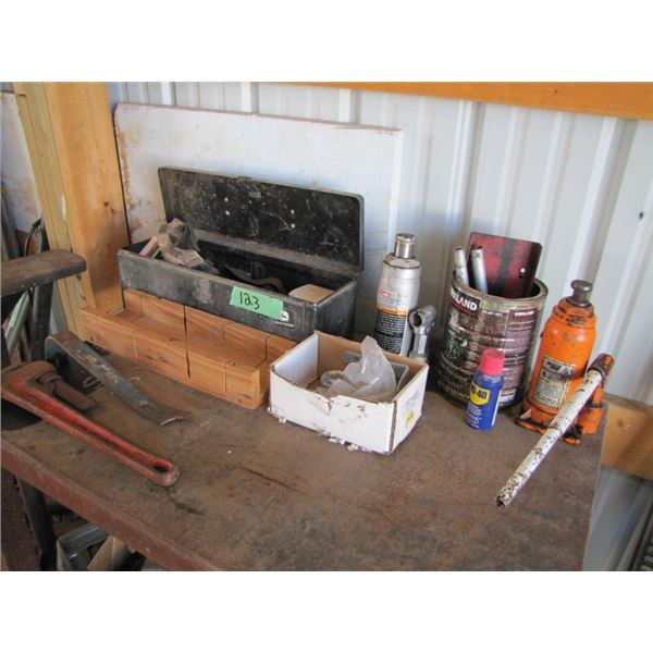 tool box with contents, 2 bottle jacks, pipe wrench Etc
