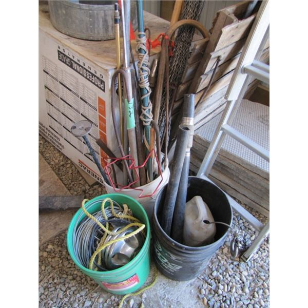 3 pails of assorted iron, telephone wire, pipe Etc