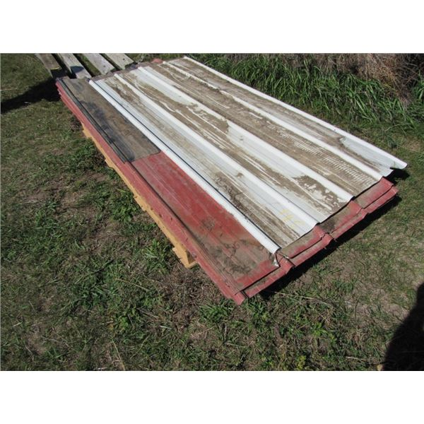 lot of 10 red sheets of tin 10 ft long. Some damage