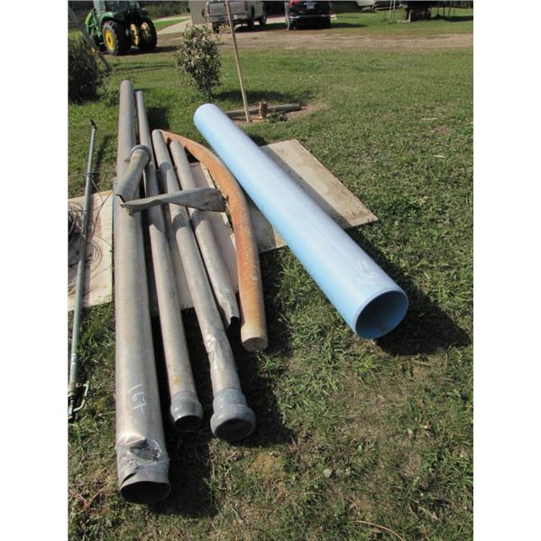 lot of aluminum pipe and poly pipe