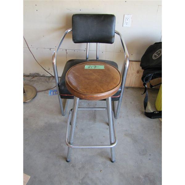 Chrome frame chair and stool