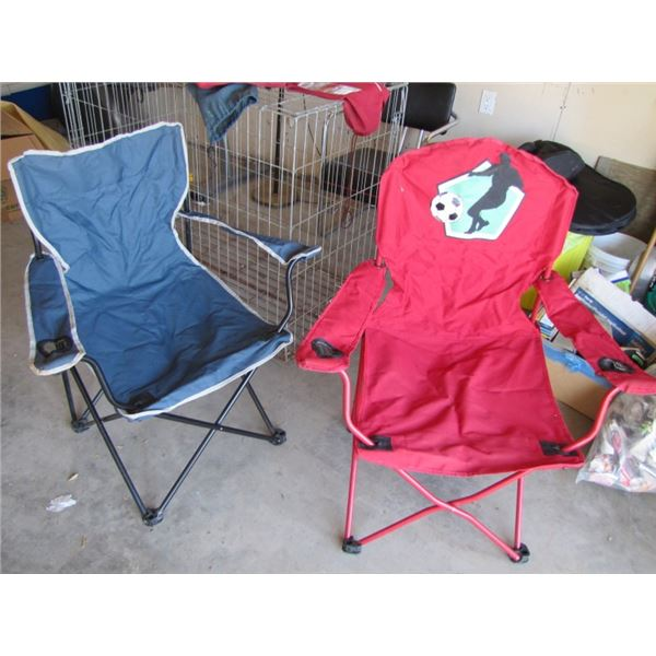 pair of folding lawn chairs with totes
