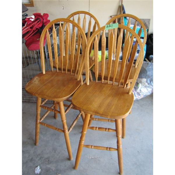 4 wooden swivel bar stools