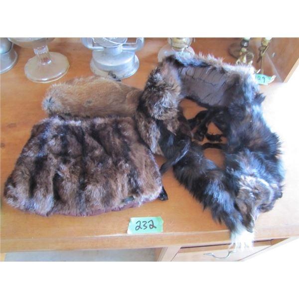 Fox stole, fur muff, beaver hat