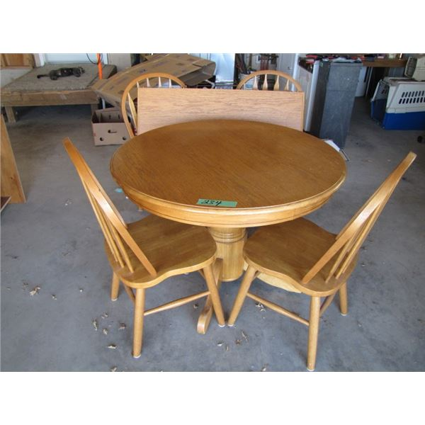 wood pedestal table with leaf and 4 chairs