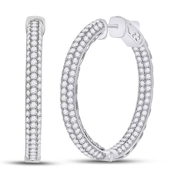 Round Diamond In Out Hoop Earrings 5 Cttw 14KT White Gold