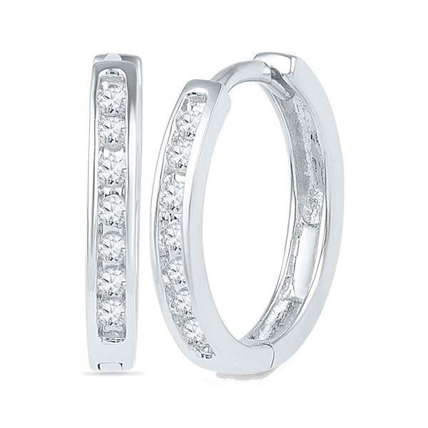 Round Channel-set Diamond Single Row Hoop Earrings 1/6 Cttw 10KT White Gold
