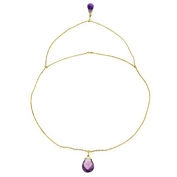 Genuine 7.5 ctw Amethyst Necklace 14KT Yellow Gold - REF-56M4T