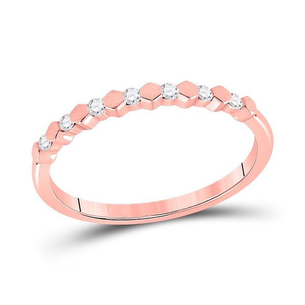 Round Diamond Stackable Band Ring 1/10 Cttw 14KT Rose Gold