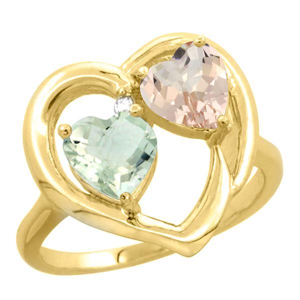 1.91 CTW Diamond, Amethyst & Morganite Ring 10K Yellow Gold - REF-26H5M