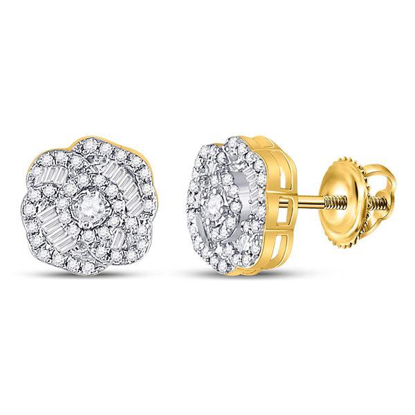 Round Diamond Fashion Earrings 3/8 Cttw 10KT Yellow Gold