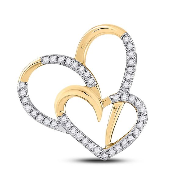 Round Diamond Heart Pendant 1/6 Cttw 10KT Yellow Gold