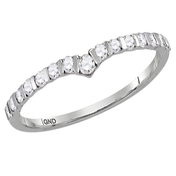 Round Diamond Chevron Stackable Band Ring 1/4 Cttw 10KT White Gold