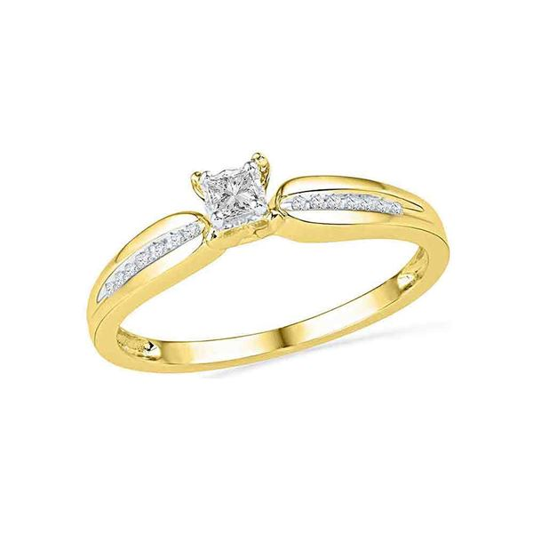 Princess Diamond Solitaire Promise Ring 1/6 Cttw 10KT Yellow Gold