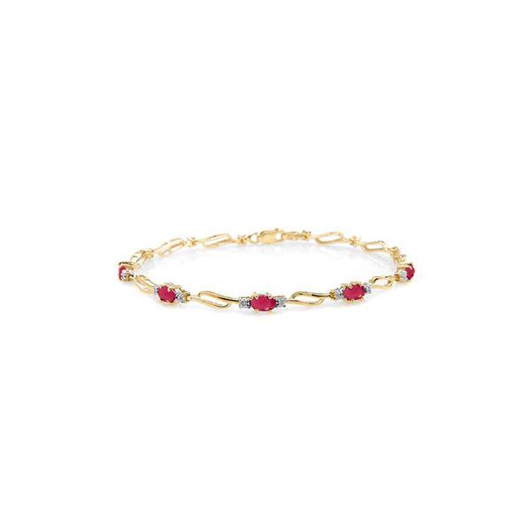 Genuine 4.21 ctw Ruby & Diamond Bracelet 14KT Yellow Gold - REF-94N4R
