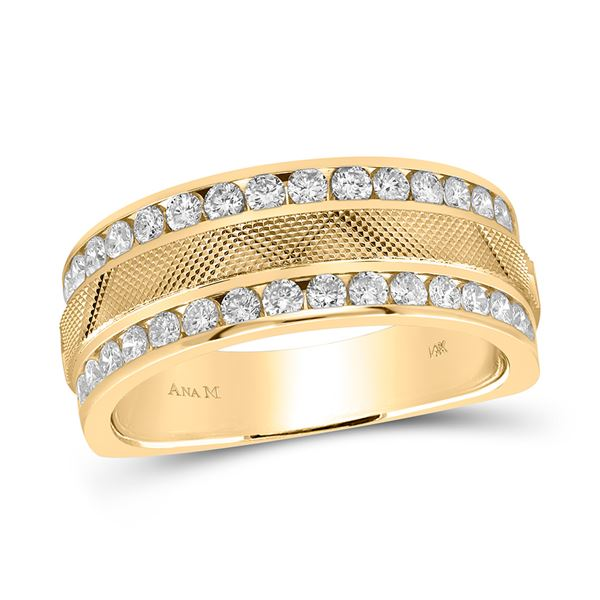 Round Diamond Double Row Textured Wedding Band Ring 1 Cttw 14KT Yellow Gold