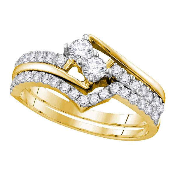 Diamond 2-Stone Bridal Wedding Ring Band Set 3/4 Cttw 10KT Yellow Gold