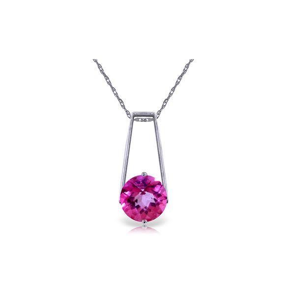 Genuine 1.45 ctw Pink Topaz Necklace 14KT White Gold - REF-23M9T