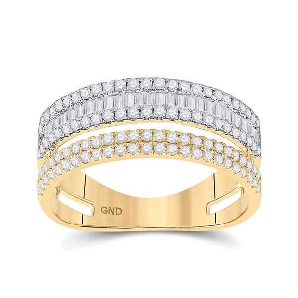 Baguette Round Diamond Parallel Band Ring 3/4 Cttw 14KT Two-tone Gold