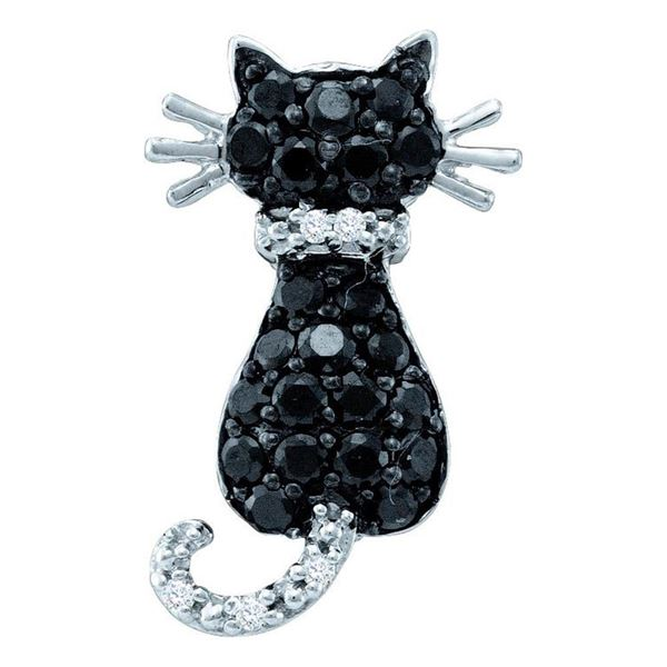Round Black Color Enhanced Diamond Cat Pendant 1/3 Cttw 14KT White Gold