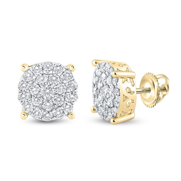 Round Diamond Cluster Earrings 1-1/2 Cttw 14KT Yellow Gold