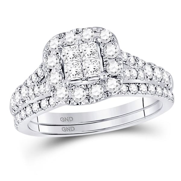 Cluster Bridal Wedding Ring Band Set 1 Cttw 14KT White Gold