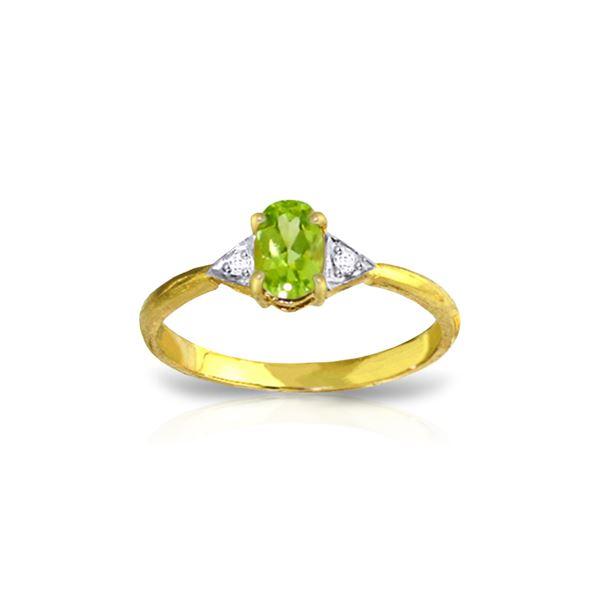 Genuine 0.46 ctw Peridot & Diamond Ring 14KT Yellow Gold - REF-22R5P