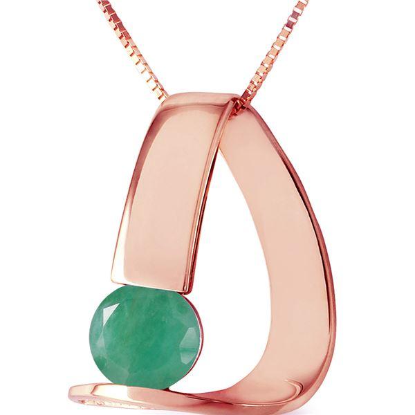 Genuine 1.65 ctw Emerald Necklace 14KT Rose Gold - REF-32Z8N