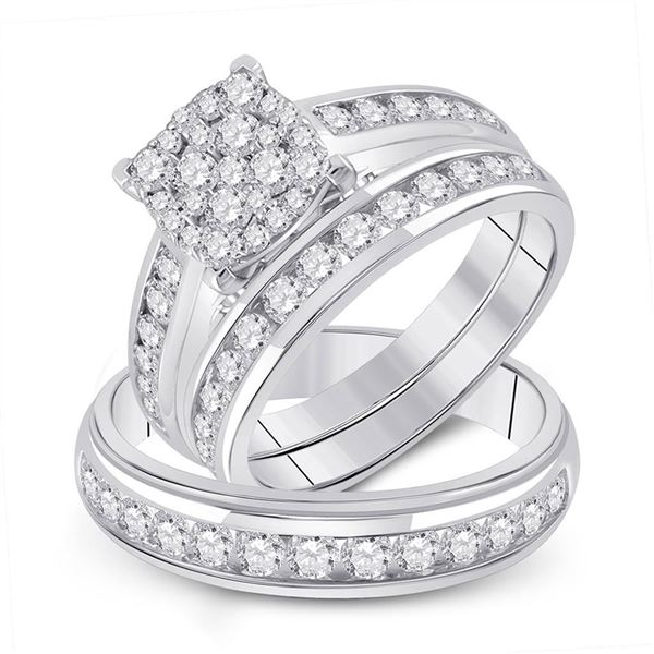 Diamond Square Matching Wedding Set 1-3/4 Cttw 14KT White Gold