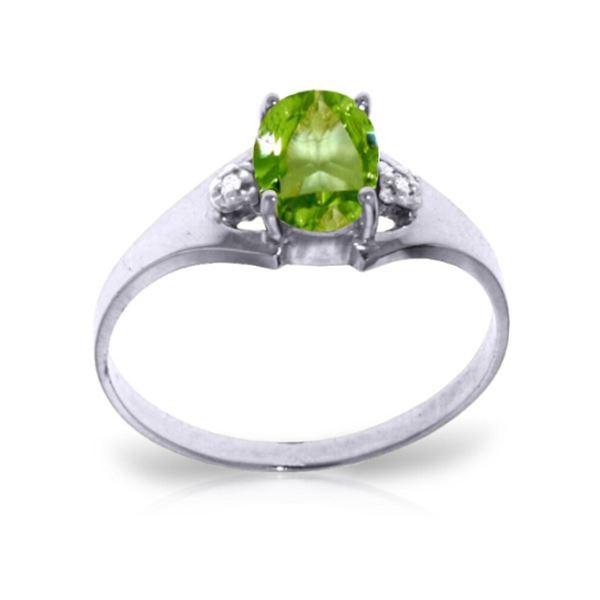 Genuine 0.76 ctw Peridot & Diamond Ring 14KT White Gold - REF-20A8K
