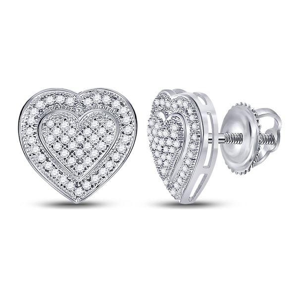 Round Diamond Heart Cluster Earrings 1/4 Cttw 10KT White Gold