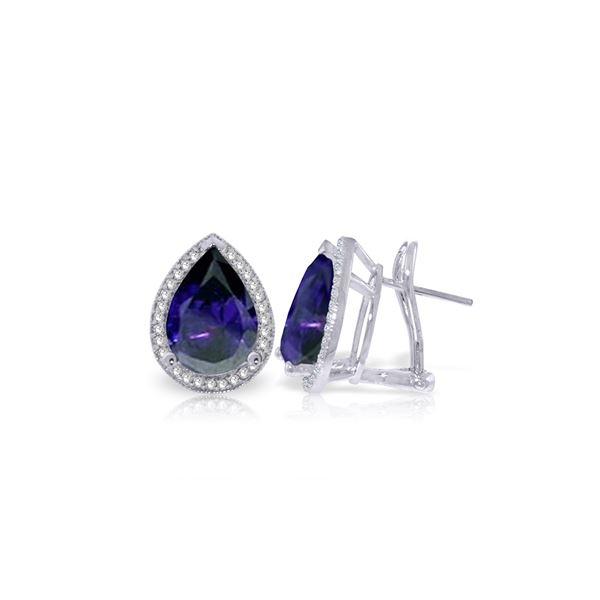 Genuine 10.52 ctw Sapphire & Diamond Earrings 14KT White Gold - REF-173T5A