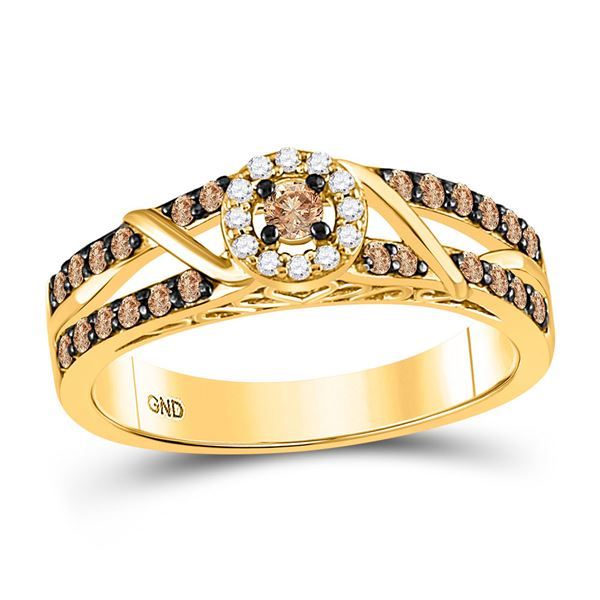 Round Brown Diamond Solitaire Ring 3/8 Cttw 10KT Yellow Gold