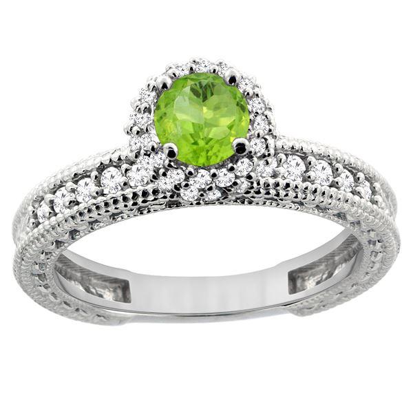 0.80 CTW Peridot & Diamond Ring 14K White Gold - REF-65R8H