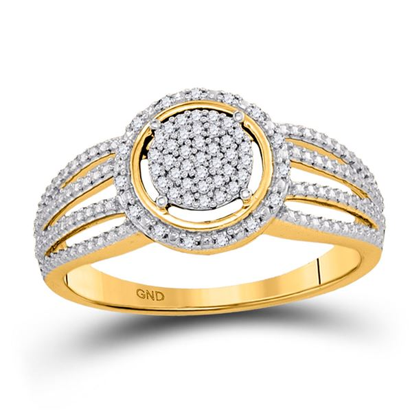 Diamond Cluster Bridal Wedding Engagement Ring 1/6 Cttw 10KT Yellow Gold