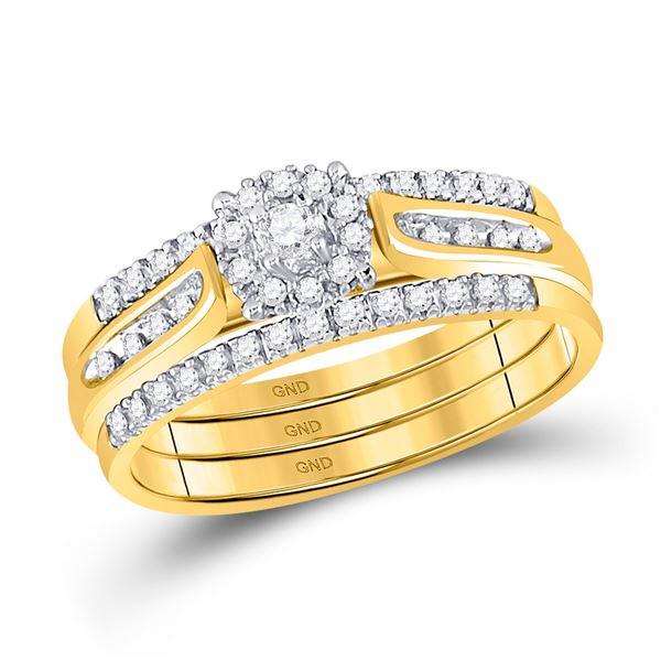 Diamond 3-Piece Bridal Wedding Ring Band Set 1/4 Cttw 14KT Yellow Gold