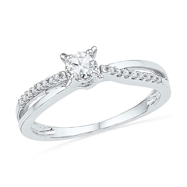 Round Diamond Solitaire Crossover Promise Ring 1/4 Cttw 10KT White Gold