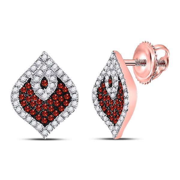 Round Red Color Enhanced Diamond Cluster Earrings 3/8 Cttw 10KT Rose Gold