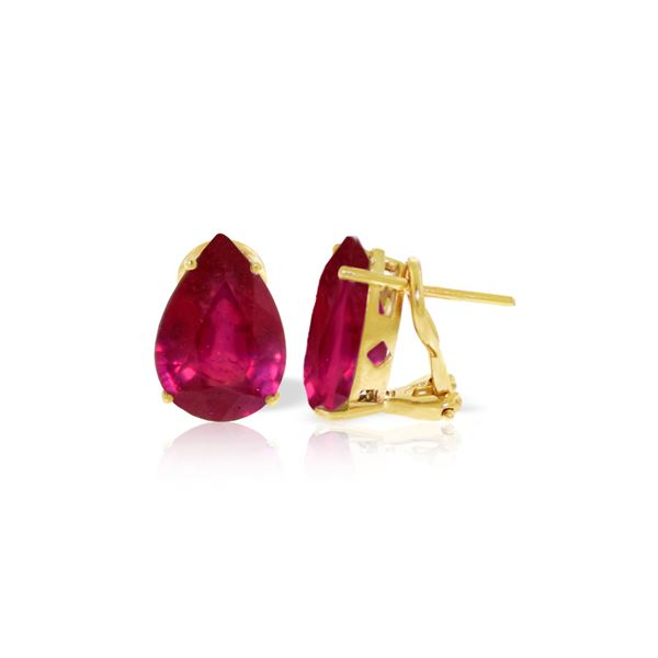 Genuine 10 ctw Ruby Earrings 14KT Yellow Gold - REF-89T5A