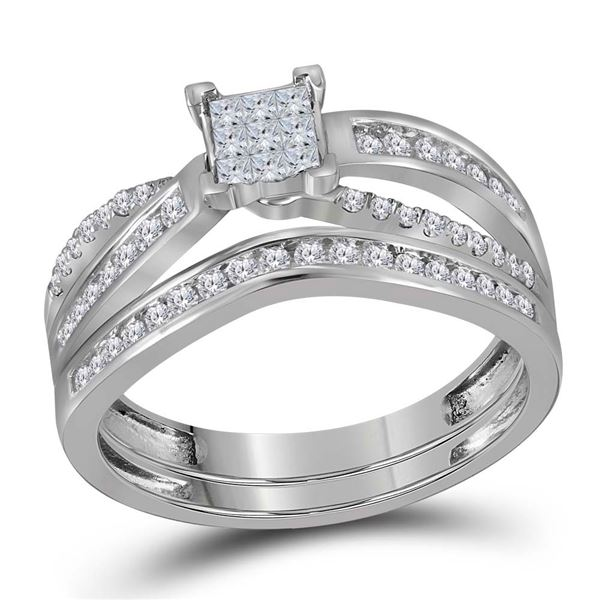 Bridal Wedding Ring Band Set 1/2 Cttw 14KT White Gold
