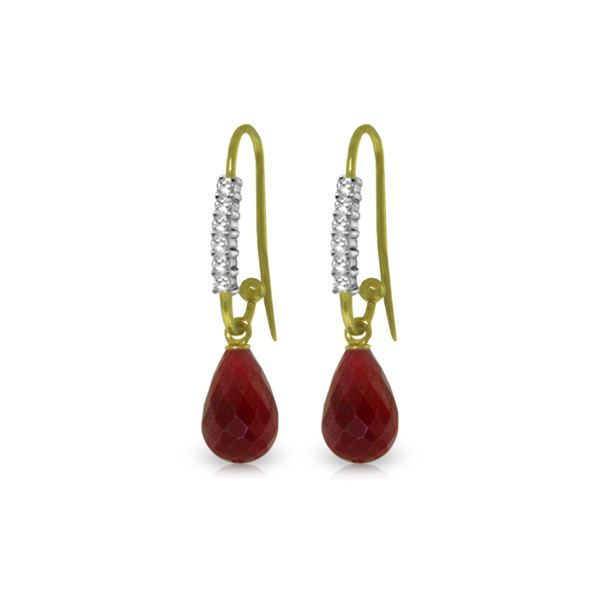 Genuine 17.78 ctw Ruby & Diamond Earrings 14KT Yellow Gold - REF-47K5V