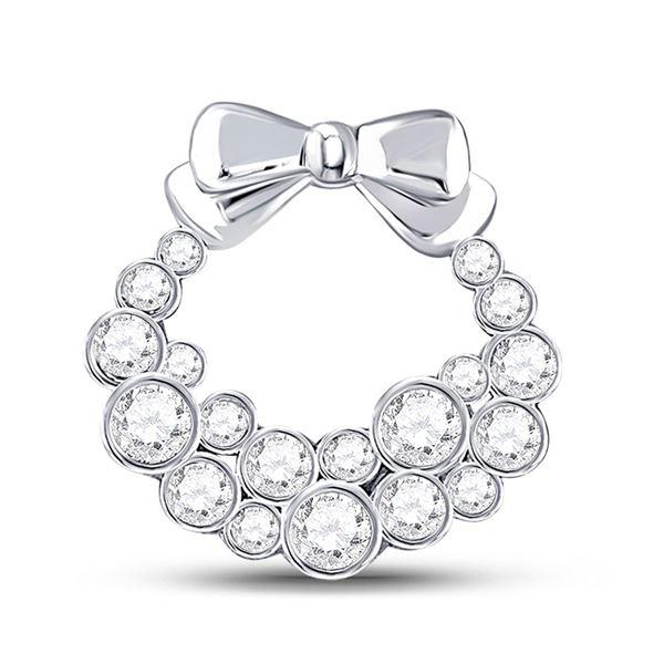 Round Diamond Holiday Wreath Pendant 1/2 Cttw 10KT White Gold