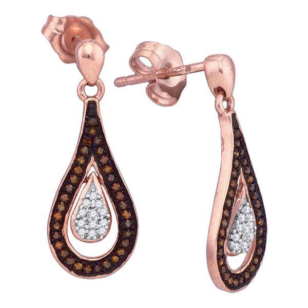 Round Red Color Enhanced Diamond Teardrop Dangle Earrings 1/5 Cttw 10KT Rose Gold