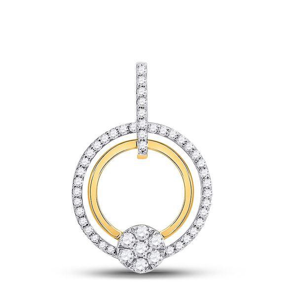 Round Diamond Circle Cluster Pendant 3/8 Cttw 10KT Yellow Gold