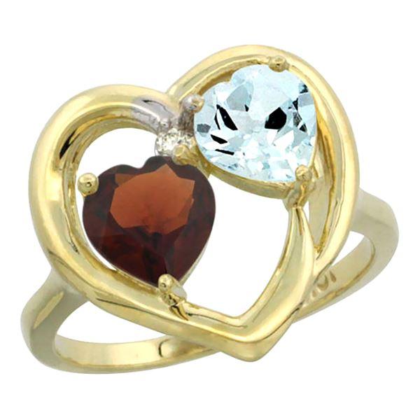 2.61 CTW Diamond, Garnet & Aquamarine Ring 14K Yellow Gold - REF-38Y2V